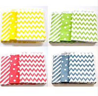 Wholesale Colorful paper bags Chevron Striped Dots Mod Favor Bags Bitty bag Party Food Paper Bag quot x7 quot colors tableware