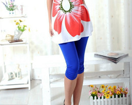 2014 colored maternity cropped pants silky folds high elastic ice silk adjustable pregnant women leggings