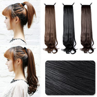 Wholesale Women s Ponytail Horsetail Hair Extension Small Wavy Hairpiece quot Black Dark Brown Light Brown