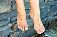Wholesale 6 off pairs Crochet Gold Chain link Barefoot Sandals Sexy Foot Jewelry Toe Ring Foot Thongs Nude Shoes Lace Sandal