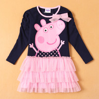 TuTu Winter tutu 2014 Spring and Autumn Baby Gilrs Long sleeve dress cut peppa pig Layered dress girl princess dresses 2-6Y baby clothing