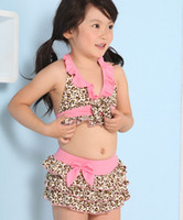 Wholesale new children s swimwear suit leopard split three sets of baby girl swimsuit children bikini s l