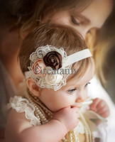 Wholesale 2014 European and American children s hair band silk lace three Rose bud with pear baby girl headband kids infant Photography props