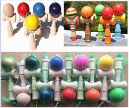 Freeshipping 18 Colors Available 19CM Kendama Toy Japanese Traditional Wood ball Game Toy Education Gifts, 200PCS