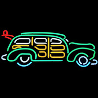 Art Deco 110V Fluorescent Classic Car Wagon Woody Neon Garage Bar Pub Sign Surfboard open Hotrod UL