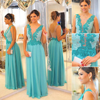 2014 Ice Blue Chiffon Evening Gowns Best Selling Real Custom...