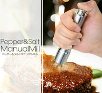 pepper mill - New Arrive Stainless Steel Thumb Push Salt Pepper Grinder Spice Sauce Mill Grind Stick Tool