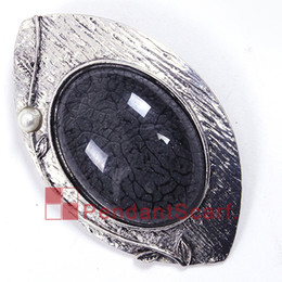 12PCS LOT Hot Sale DIY Necklace Pendant Scarf Jewelry Metal Alloyl Black Oval Resin Charm Scarf Pendant Accessories, Free Shipping, AC0266C