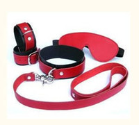 Wrist & Ankle Cuffs Unisex  BDSM Sex Real Leather Goggles Neck Collar Handcuffs Bondage Sex Product Adult Sex Toys With Free Shipping