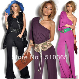 Wholesale chiffon amp silk regular solid slim sashes fashion style overalls empire oblique shoulder jumpsuits women FWG
