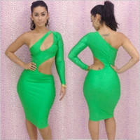 Casual Dresses One Shoulder Knee Length New Fashion Womens Celebrity Midi Bodycon Dress Ladies Evening Sexy Party Bandage Dresses