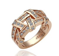 Band Rings South American Women's 18k gold plated ring CZ Crystal ring wholesale free shipping size 6.7.8