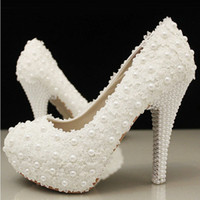 Wedding Heels High Heel 2014 Free Shipping In White Pearls Crystal Beaded lady Formal Shoes Women's High Heels Beaded Bridal Evening Prom Party Women Wedding Shoes