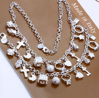 Wholesale jewelry set Sterling Silver jewelry necklace bracelet jewelry set S074