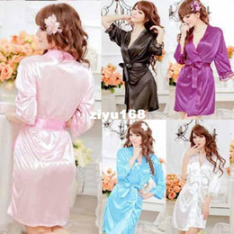 Wholesale Sexy Silk Gowns Robes - 2014 Sexy Women Comfortable Spa Robes Solid Color Night Gown Faux Silk Ladies' Bathrobe Free Shipping NSP009