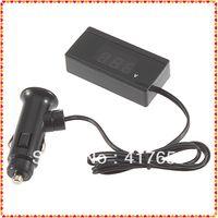Wholesale 1pcs V V Mini Auto Digital LED Voltmeter Car Voltage Gauge with cigarette plug