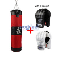 Wholesale Free Gift Lb Fitness Training Unfilled Boxing Punching Bag Punch Bag Empty With Pair Boxing Gloves Red