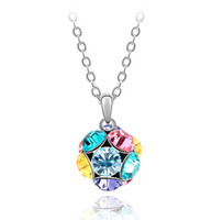 Pendant Necklaces Women's Fashion Pop Round ball 18k gold plated Necklace Austria crystal Free shipping wholesale