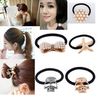 Wholesale Korea Styles Women New Metal Pearl Crystal Hair Cuff Clip Band Ponytail Holder
