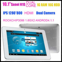 """4.8 inch Dual Core Android 4.1 discount shipping Sanei N10 dual core rockchip3066 1.6gx2 10.1"""" IPS Screen 1280x800 Dual Camera Android 4.1 tablet pc"""