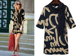 Wholesale 2014 New Ladies Dresses Europea Stylish Letters Print Elegant Slim Fit Middle Sleeve Oversized