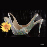 Wholesale 2014 Mixed Color Crystal Bridal Wedding Evening Party Prom Shoes CM High heel Lady Dancing Shoes Cheap Rhinestone Sandals In Stock Silver