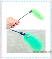 Wholesale 2014 Fashion Cat Toys Funny Beautiful Long haired Feather Wand Cat Toys Bar Training Cat Supplies Fedex