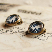 Clip-on & Screw Back american drinks - Forest Drinking Reindeer Clip Earrings Without Puncture Handmade Christmas Jewelry rj13