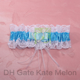 Wholesale White Lace Wedding Garter with Blue Satin amp Heart shaped Rhinestone for Wedding Party Stuff Accessory Supplies