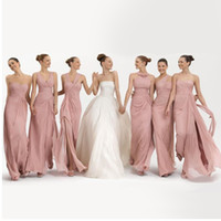 Reference Images Pleats Sleeveless Cheap A-line Pleats 6 Kinds Of Styles Floor Length Skin Pink Chiffon Prom Party Gowns 2014 Beach Bridesmaid Dresses Under $50 DL1311197