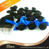 Brazilian Hair Natural Color Body Wave Free Shipping Freestyle Silk Base Closure Brazilian Lace Closure with 3 Bundles Hair Weft Body Wave