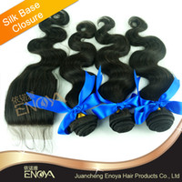 Brazilian Hair Natural Color Body Wave Free Shipping 4 pc lot Brazilian Virgin Hair 4*4 Silk Base Lace Closure with 3 Hair Wefts Natual Color