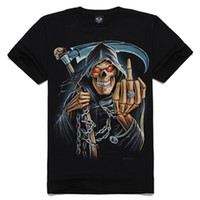Wholesale 2014 New Arrival Hot Summer Fashion Scythe Skull Fuck D Digital Print Tees Cotton Men T Shirts Sizes S M L XL XXL TS017