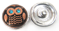 Wholesale new arrival antique copper owl with emerald cz eye DIY snap charm metal chunks button leather bracelet