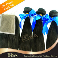 Brazilian Hair Natural Color Straight 4 pc lot Brazilian Virgin Hair Natural Color 4*4 Silky Straight 4*4 Silk Base Lace Closure Natural Color with 2 Hair Wefts