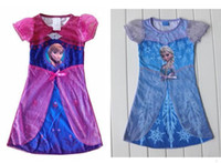 Wholesale One piece retail FROZEN ELSA Anna girl girls short sleeve nightie dress nightwear sleepwear pajamas Pre Order