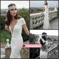 Trumpet/Mermaid Reference Images V-Neck 2014 Custom Made New Beautiful Court Train Backless Floor Length Lace Wedding Dresses Berta Bridal Gowns 14103