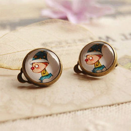 Running Clown Clip Earrings Without Puncture Personalized Kids Jewelry Vintage Earrings rj16