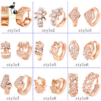 Wholesale 925 silver earrings K rose gold plating hoop earrings crystal earrings fashion jewelry women earring