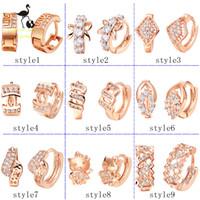 Wholesale 925 silver earrings K rose gold plating hoop earrings crystal earrings fashion jewelry women earring
