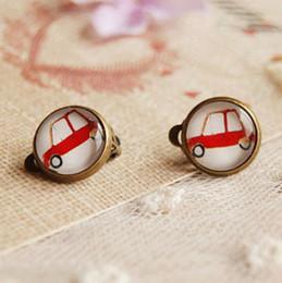 Wholesale Mini Red Car Earrings Without Piercing Cute Earrings for Children Kids Jewelry rj19