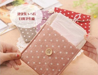 Stuff Sacks Cotton Fabric  Korean fresh wave cotton sanitary napkin bag wooden buckle health cloth cotton napkin bag