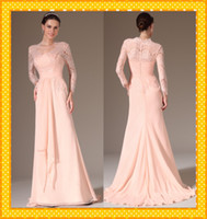 Cheap 2014 Cheap Sexy Peplum Evening Dresses Scoop Long Sleeve Prom Celebrity Dress Sweep Train Formal Mother Party Gowns Frr Shipping