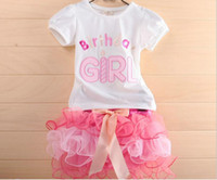 Girl Summer Short Birthday Girl t-shirt + cake skirt tutu gauze pettiskirt 2 pcs dress suit cake skirt little girl suit children set outfit clothes