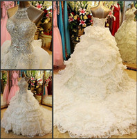 Wholesale 2014 New Design Heavy Beads Crystal Sequin A Line Halter Sleeveless Cathedral Train Organza Wedding Dresses Weeding Grown