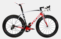 Wholesale 2013 LOOK Carbon Road bicycle Frame with integrated Aerostem and crankset carbon road bike size XS M L color red white