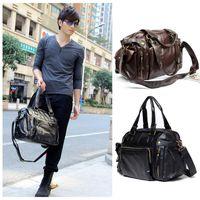 leather duffle bag - New Men s Fashion Hand bag PU Leather Gym Duffle Satchel Shoulder Travel Bag Handbag H9448