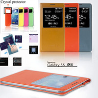 Wholesale S View Official Open Window Wake sleep Flip case Leather cases with chip Cover for Samsung Galaxy Note Note4 N9000 S4 i9500 S5 i9600