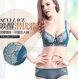 Wholesale Bra Sets the first sales Massage oil water bag bra women gather small chest deep v lace sexy lingerie bra set