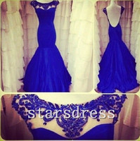 Wholesale 2014 Custom Make Royal Blue Mermaid Gown with Evening Pageant Ball Gown Wedding Party Prom Dresses with Beaded